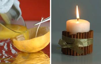 Делаем новогодние свечи из самых необычных материалов