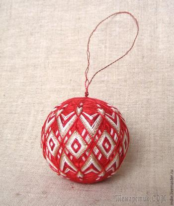Изготавливаем новогодние шары-темари