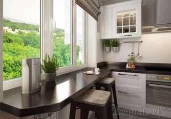 5 вариантов «переориентации» подоконника, чтобы освободить место на маленькой кухне