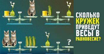 Загадка: сколько кружек весят, как одна ваза?