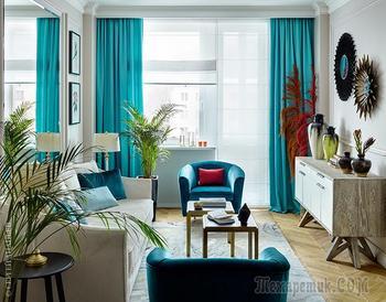 Московские тропики: стильная квартира для молодой женщины (46 кв. м)