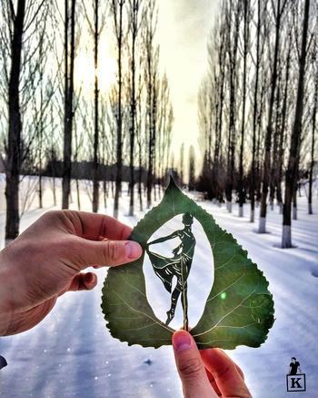 Невероятные картины из листьев