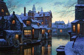 Художник нарисовал зиму такой уютной, что хочется ее обнять