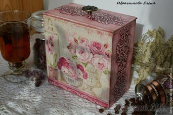 Подробный мастер-класс: декупаж и выделение рельефа, короб «В розовых мечтах»