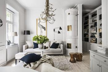 Интерьер двухкомнатной квартиры в Стокгольме 58 кв. м
