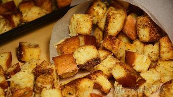 Домашние сухарики с сыром в духовке. Крутоны. Вкусно, быстро и просто!