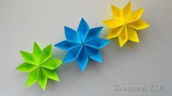 Простые цветы из бумаги. Оригами поделки для украшения подарков.