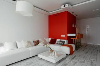 Минималистический дизайн интерьера в красно-белых тонах