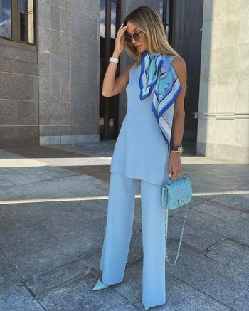 14 модных примеров с чем лучше всего сочетать голубые брюки