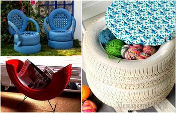 Нестандартные примеры превращения покрышек в мебель и предметы быта