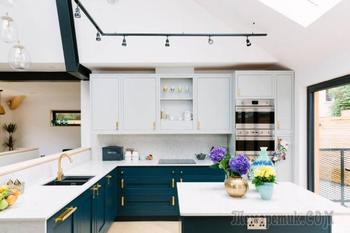 Двухцветные кухни – свежо, модно, стильно