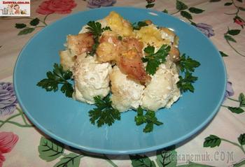 Курица с цветной капустой под сливочным соусом и сыром (в духовке)