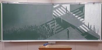 Японские школьники рисуют мелом на доске изумительные картины