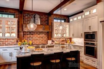 Кухня под кирпич или кирпичная стена на кухне