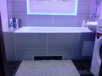 Ванная: ремонт со светодиодной подсветкой и панно