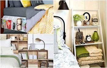 16 нетривиальных идей для организации хранения в маленькой спальне