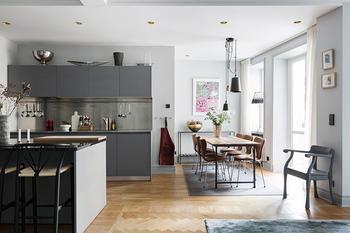 Современная двухкомнатная квартира с открытой планировкой