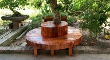 Круглая скамейка со столиком вокруг дерева