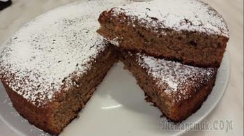 Постный пирог - коврижка с вареньем  на чае. Всё смешал и в духовку!