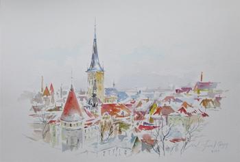 Красные крыши Таллина в снегу. Акварель без карандаша