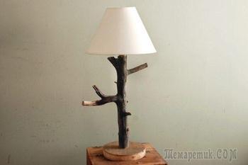 Оформление комнаты при помощи оригинальных деревянных светильников