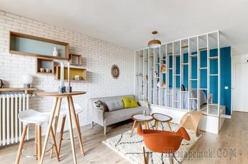 Компактный дизайн квартиры-студии 25 кв. м.