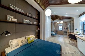 Дизайн спальни в мансарде с гардеробной