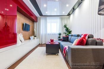 Современный интерьер гостиной комнаты в стиле конструктивизм