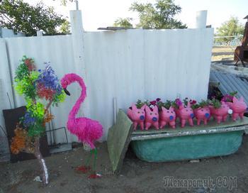 Фламинго из пластиковых бутылок по МК Светланы Антаковой
