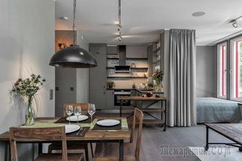 Все оттенки серого: концепт квартиры, площадью 45 квадратных метров