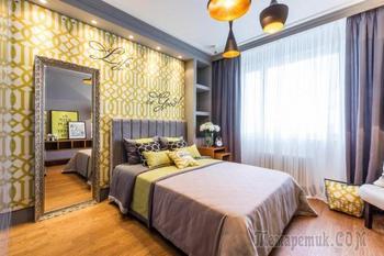 Дизайн желто-серой спальни 14 кв. метров