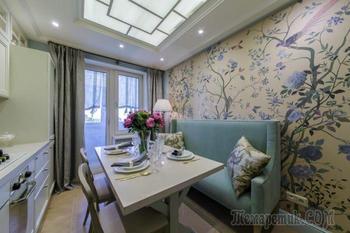 Дизайн светлой кухни в классическом стиле 10 кв. м.