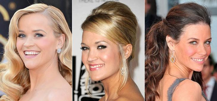 Как знаменитости выбирают вечерние прически на средние волосы по форме лица
