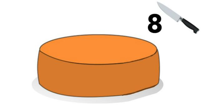 У вас есть головка сыра, как с помощью всего трех разрезов поделить ее на 8 равных частей?