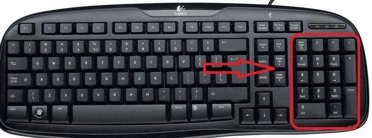 Цифровая часть клавиатуры расположена обычно в правой ее части