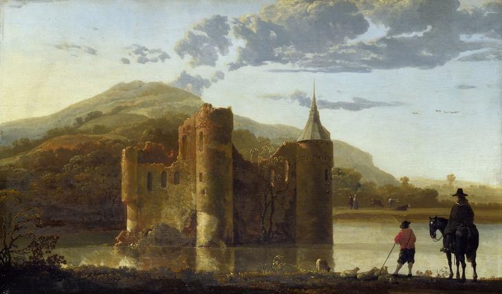 Пейзаж с замком Берген -- ок1655, 32х54, Нац гал Лондон