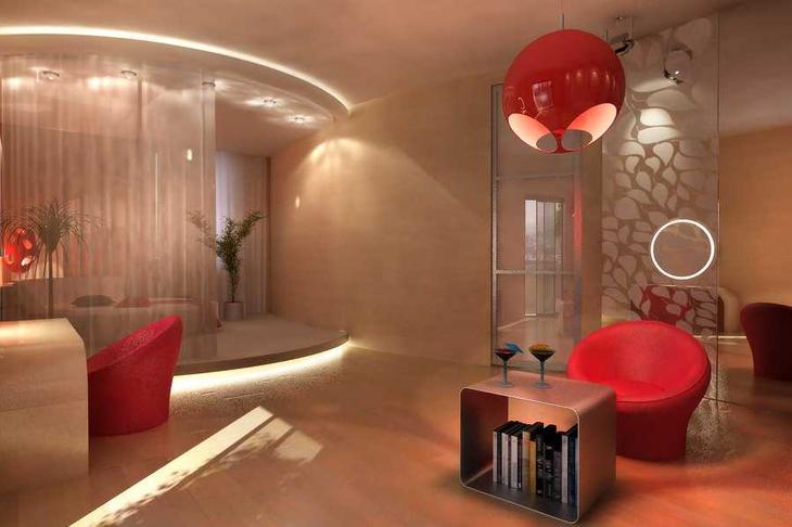 Зонирование гостиной с помощью штор