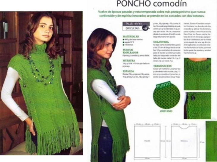 Схема и описание вязания спицами женского жилета пончо, пример 2