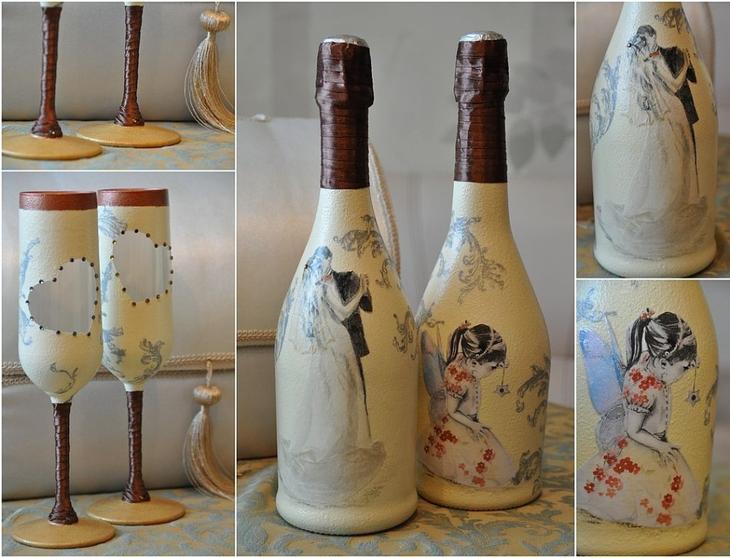 Украшение бокалов и бутылок для свадьбы декупажными салфетками