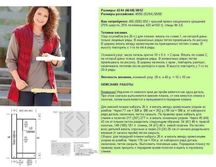 Схема, описание вязаного спицами жилета для пышной дамы, пример 2