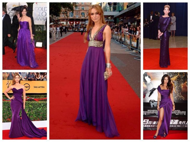 Вечерние платья фиолетового цвета на красной ковровой дорожке