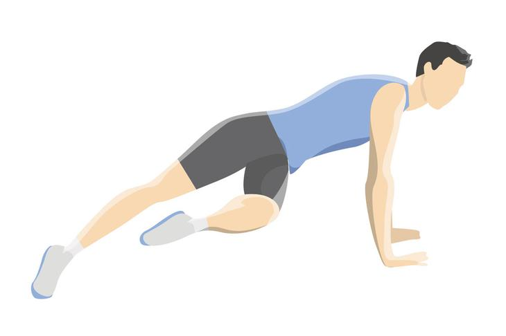 Упражнения на пресс — поворот колена в планке