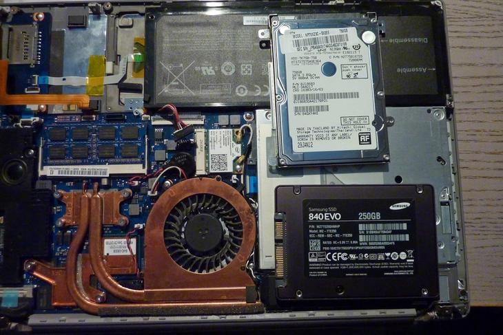 Рис.6. Установка SSD вместо HDD в ноутбуке