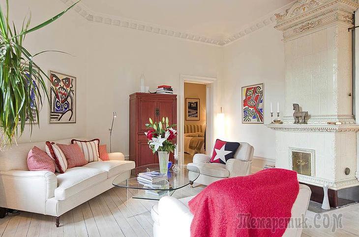 Отреставрированная квартира с камином в Швеции