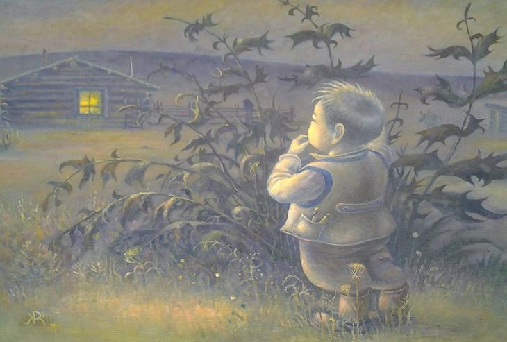 Жамсо Раднаев, «Из детства». Знакомая многим ситуация: ребенок нашалит  и сбежит из дома, подальше от неминуемого наказания. Маленький беглец высматривает из-за каких-нибудь кустов дом и вслушивается, не ищут ли его  уже, сердитыми или взволнованными голосами не окликают ли проказника