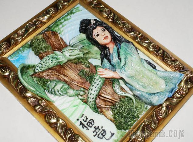 "Картина из соленого теста ""Японка и дракон"""