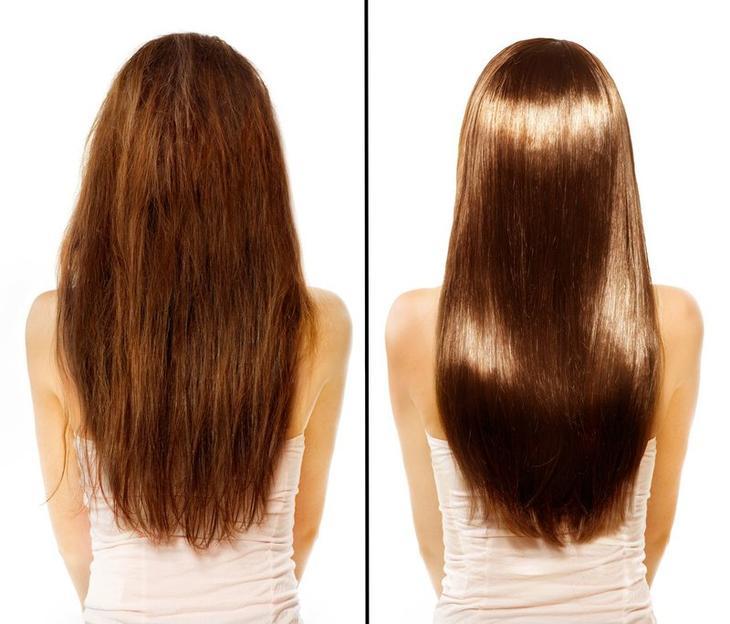 Результат после желатиновой маски для волос