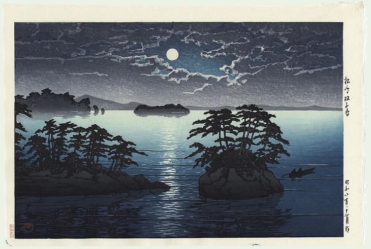 """Хасуи Кавасэ. .""""Луна в Мацусиме"""". 1919г. Ксилография"""