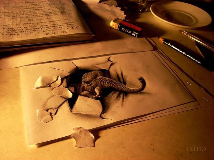 3Ddrawings15 Самые впечатляющие карандашные 3D рисунки от художников со всего света