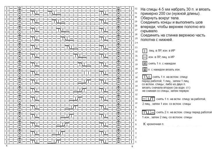 Схема узора для шарфа трансформера